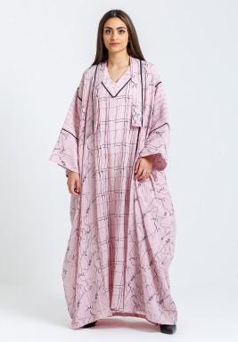 طقم وردي مطبوع بشت وفستان