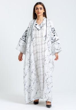 طقم أبيض مطبوع فستان وبشت