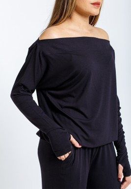 Black One-shoulder stretch Thumbhole sweater
