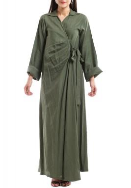 فستان ملتف كاكي