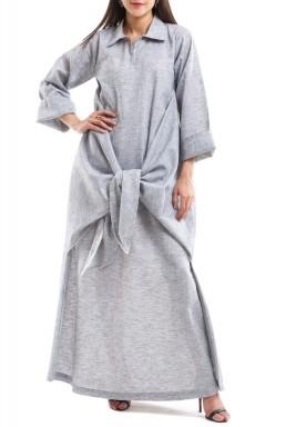 فستان ملتف رمادي