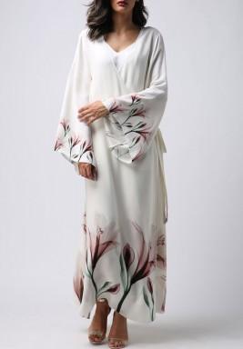 ثوب مزدوج بطبعة مائية وأكمام طويلة