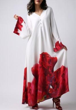 فستان الشعلة المتوهجة بأكمام طويلة