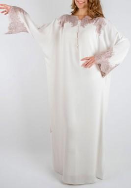 فستان دانتيل لون بودرة التلك
