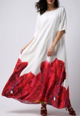 فستان الشعلة المتوهجة بأكمام قصيرة