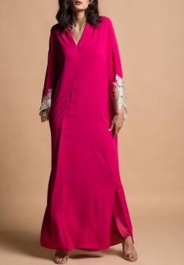فستان فوشيا وذهبي حرير بأكمام طويلة