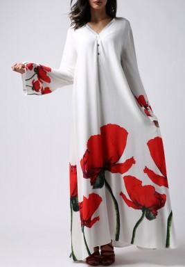 فستان أبيض بطبعة ورد التوليب الأحمر ماكسي