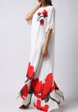 فستان التوليب الأحمر بأكمام قصيرة
