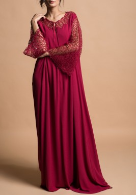 فستان كلاريت الماروني بالدانتيل