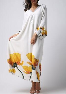 فستان أبيض ماكسي بطبعات التوليب الأصفر