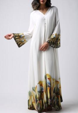 فستان التوليب الأبيض بأكمام طويلة