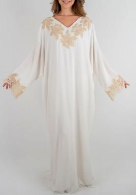 فستان ماجنوليا الأبيض والذهبي الحريري