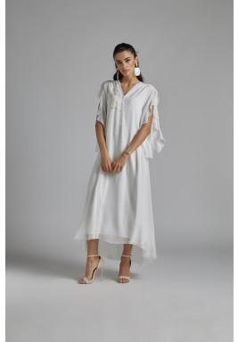 فستان استقبال أوف-وايت حرير