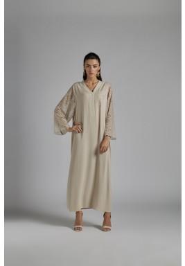 فستان استقبال بيج مزخرف حرير