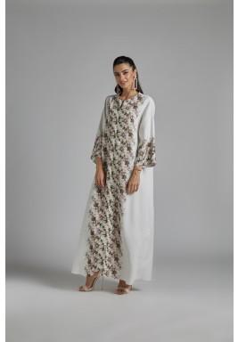 فستان أبيض كتان بطبعات ورود