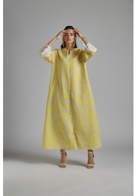 فستان أصفر كتان بطبعات سلاسل