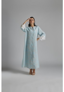 فستان أزرق كتان بطبعات سلاسل
