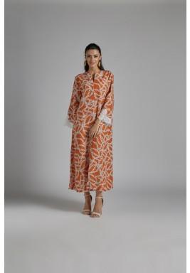 فستان برتقالي كتان بطبعات سلاسل