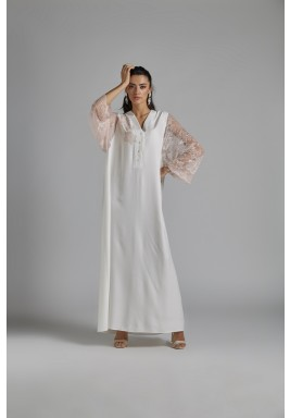 فستان استقبال أبيض ووردي حرير