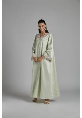 فستان استقبال أخضر فاتح مزخرف