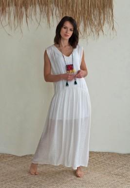 فستان بريزي أبيض ماكسي
