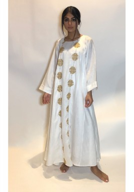 White golden Embroidered kaftan