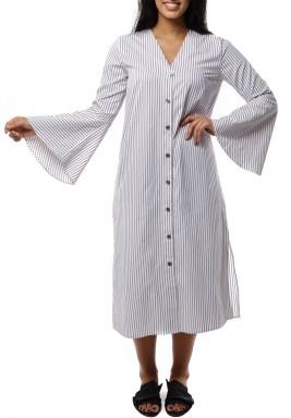 فستان ميدي قطن مخطط ابيض