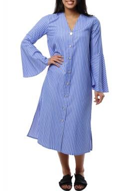 فستان ميدي قطن مخطط ازرق