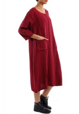 فستان بثنايا وجيوب أحمر