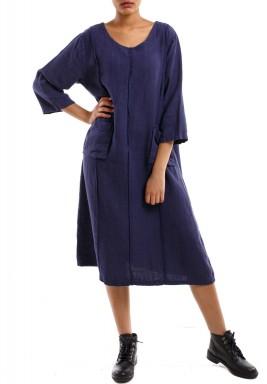 فستان بثنايا وجيوب أزرق