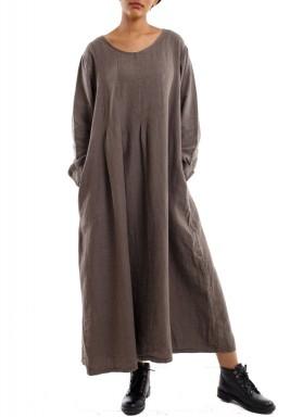 فستان طويل انسيابي أنيق بني