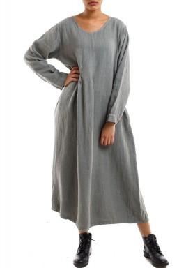 الفستان الطويل الرمادي