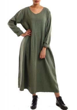 فستان طويل انسيابي أنيق أخضر جيشي