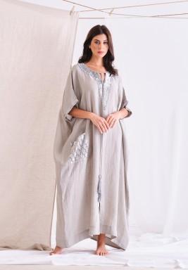 Ash Gray Linen Kaftan With Embellishment & Tassel