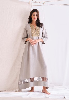 Ash Gray Linen Long Dress With Embellishment