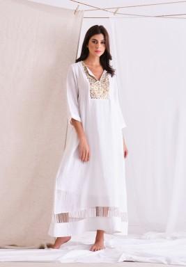 White Linen Long Dress With Embellishment