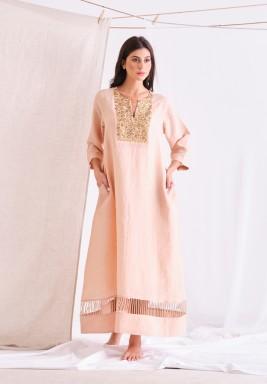 Peach Beige Linen Long Dress With Embellishment