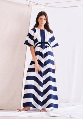 Beige & Navy Linen Long Dress
