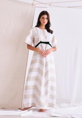 Beige & White Linen Long Dress