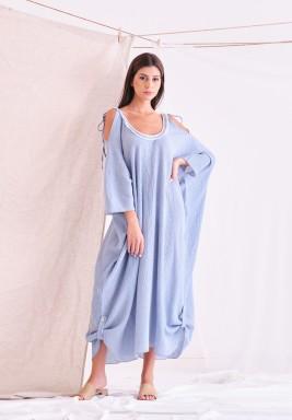 فستان أزرق فاتح مجعد بأكتاف مربوطة