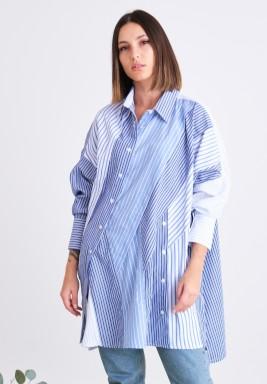 قميص أزرق مخطط غير متماثل