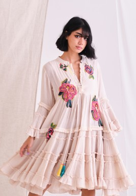 Bella Pink Top with Embroider Patch & Tassel