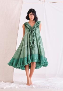 Bottle Green Baby Doll Dress with Ruffles & CPT Dye