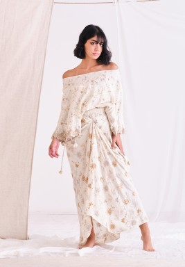 Gardenia Off Shoulder Top with Dhoti & Fully Embroider