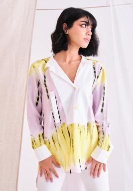 White & Yellow Tie Dye Shirt