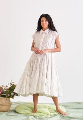 White Ruffled Printed Dress