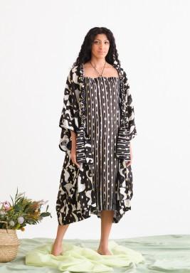 Black Printed Bisht & Dress Set