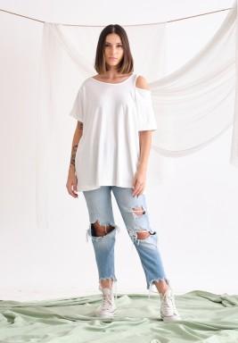 White cutout T-shirt