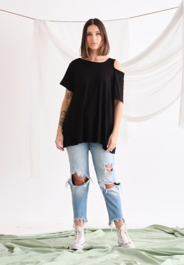 Black cutout T-shirt