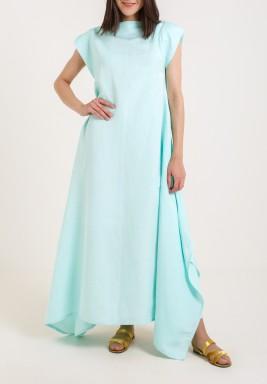 فستان تيفاني بأكمام قصيرة مطوية